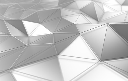 Abstract 3d rendering of white surface. Background with futuristic lines and low poly shape. 免版税图像 - 38994853