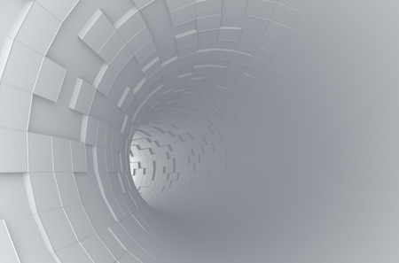science technology: Abstract 3d rendering of futuristic tunnel. Background with sci-fi pipe and chaotic cubes. Stock Photo