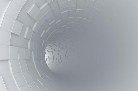 perspectiva lineal: Resumen representación 3D de túnel futurista. Fondo con el tubo de ciencia ficción y cubos caóticas. Foto de archivo
