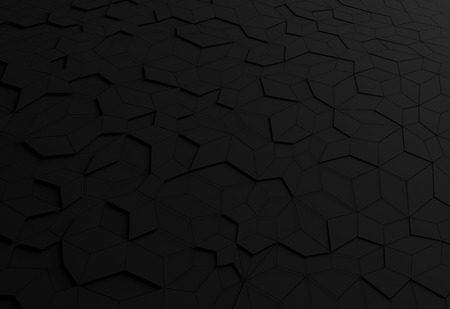 Abstract 3d rendering of black futuristic surface. Sci-fi background. Banco de Imagens