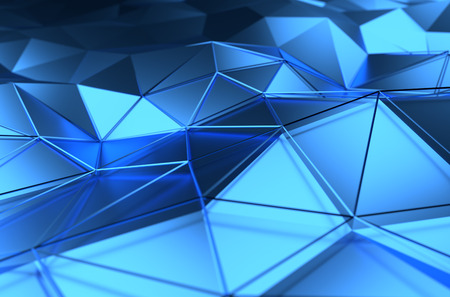 Abstract 3d rendering of blue surface. Background with futuristic lines and low poly shape. 免版税图像 - 39028454