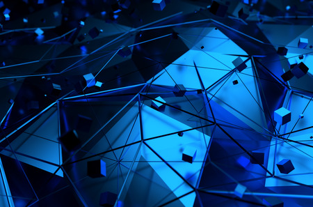 Abstract 3d rendering of blue surface with chaotic cubes. Background with futuristic lines and low poly shape.