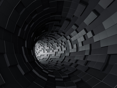 Abstract 3d rendering of futuristic tunnel. Background with sci-fi pipe and chaotic cubes. Reklamní fotografie