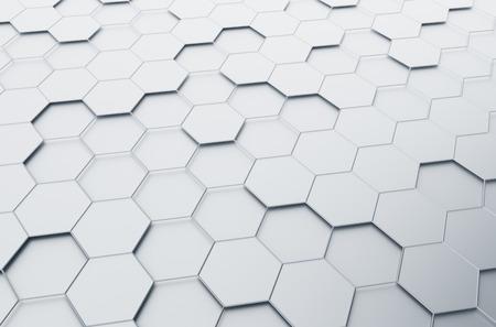 육각형 미래 표면의 추상 3d 렌더링. 공상 과학 배경. 스톡 콘텐츠