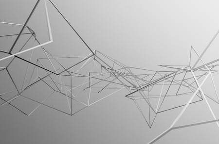 Abstract 3d rendering of chaotic structure. Light background with lines in empty space. Futuristic shape.