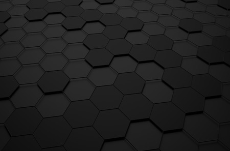 Abstracte 3D-rendering van futuristische oppervlak met zeshoeken. Black sci-fi achtergrond. Stockfoto