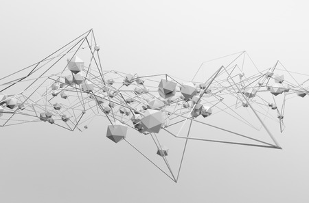 Abstract 3d rendering of chaotic structure. Light background with lines and low poly spheres in empty space. Futuristic shape.