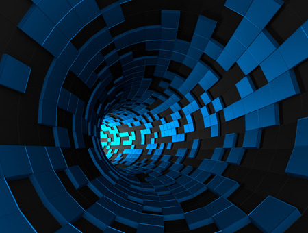 Abstract 3d rendering of futuristic tunnel. Background with sci-fi pipe and chaotic cubes. Stock Photo