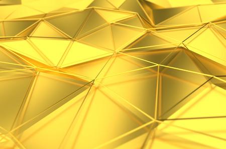 금 표면의 추상 3d 렌더링합니다. 미래 지향적 인 라인과 낮은 폴리 모양 배경입니다.