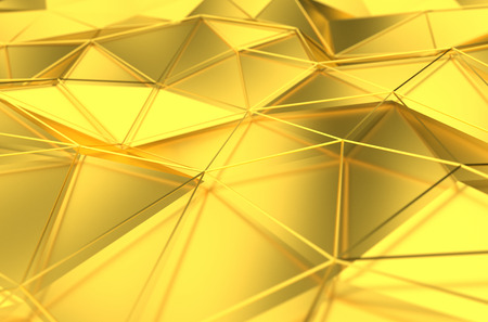 Abstract 3d rendering of gold surface. Background with futuristic lines and low poly shape.