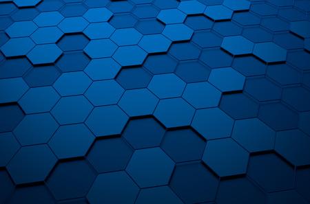 Abstrakt 3D-Rendering von futuristischen Oberfläche mit Sechsecken. Blaue Science-Fiction-Hintergrund. Lizenzfreie Bilder