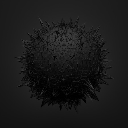 Abstract 3d rendering of black sphere with chaotic structure. Dark background with wireframe and globe in empty space. Futuristic shape. Stock Photo