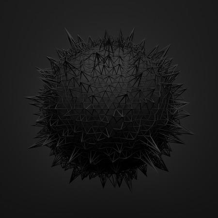 Abstrakt 3D-Rendering schwarze Kugel mit chaotischen Struktur. Dunklen Hintergrund mit Drahtmodell und Kugel im leeren Raum. Futuristische Form.