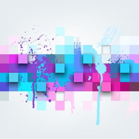 Vector Hintergrund. Illustration der abstrakten Textur mit Quadraten und Farbspritzer. Pattern Design für Banner, Poster, Flyer, Cover, Broschüre. Hand gezeichnet Aquarell Farbe spritzen. Illustration