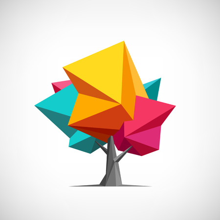 garden design: Conceptual polygonal tree. Abstract vector Illustration, low poly style. Stylized design element. Background design for poster, flyer, cover, brochure. Logo design.