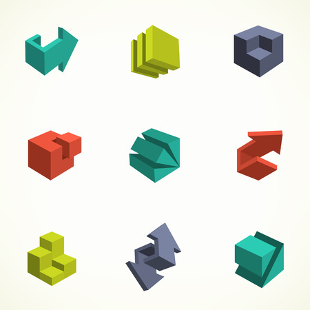 Set of 3d icons. Vector illustration of abstract arrows and cubes, low poly style. Design element for poster, flyer, cover, brochure. Polygonal geometric figures. Logo design.