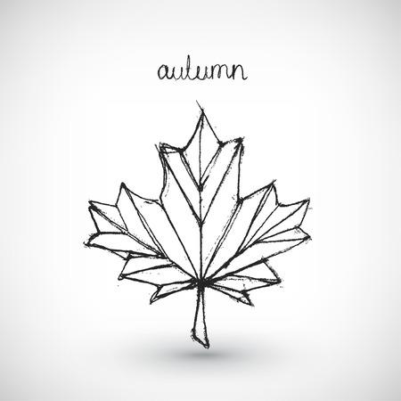 stylized design: Illustrazione vettoriale astratto. Disegno a mano la parola autunno con foglia. Disegno di sfondo. Elemento di design stilizzato.