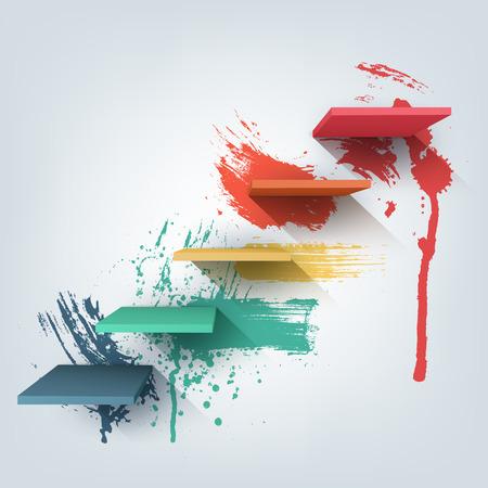 folleto: Ilustración de vectores de fondo. Composición de escaleras 3d con salpicaduras textura de la pintura. Patrón de diseño de fondo para la bandera, aviador, cubierta, cartel, folleto. Etapas de aprendizaje, los pasos de concepto de la educación.