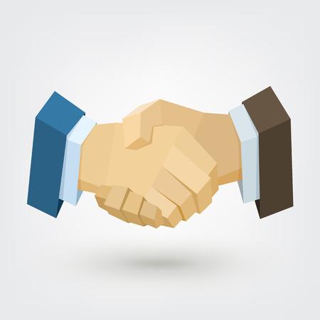 개념적 다각형 사업가 악수입니다. 비즈니스 및 금융 개념에 대 한 배경입니다. 신뢰할 수있는 파트너. 벡터 일러스트 레이 션, 포스터, 전단지, 커버,
