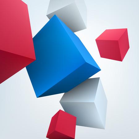 Vector illustration of 3d cubes. Background design for banner, poster, flyer.