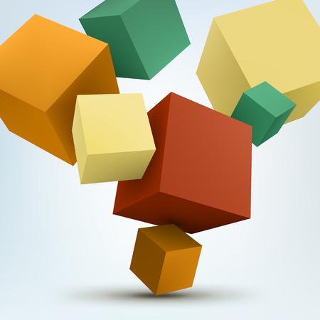 추상 3D 큐브의 벡터 일러스트 레이 션. 배경 디자인.