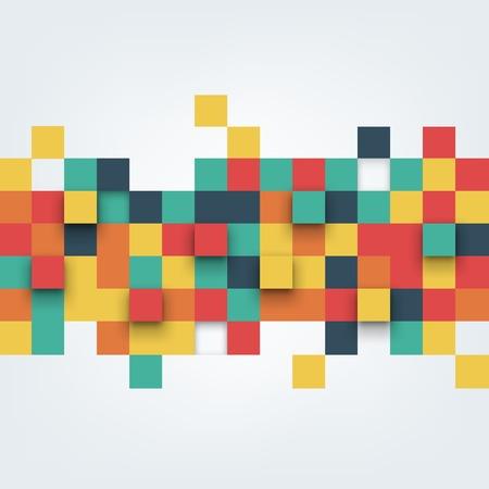 objetos cuadrados: Vector de fondo. Ilustraci�n de la textura abstracta con cuadrados. Patr�n de dise�o para la bandera, cartel, folleto, tarjeta.