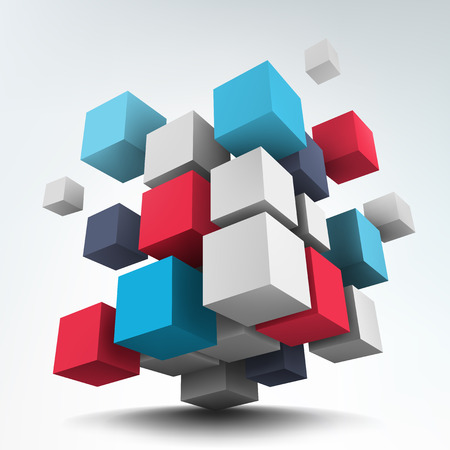 building block: Abstract vector Illustration. Composition of 3d cubes. Background design. Logo design.