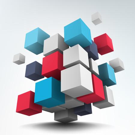 Ilustración de vectores de fondo. Composición de los cubos 3d. Diseño de fondo. Diseño de logotipo.