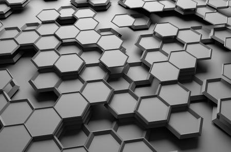 육각형 미래 표면의 추상 3d 렌더링.