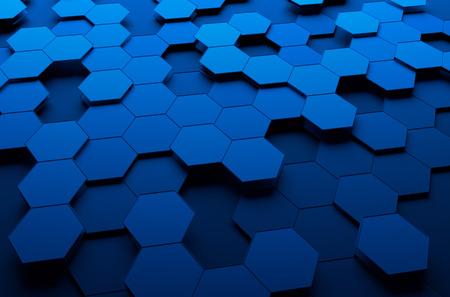 六角形で未来の表面の 3d レンダリングを抽象化します。