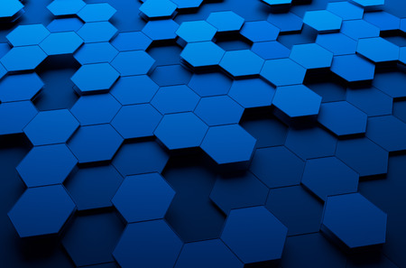 Abstract 3d rendering of futuristic surface with hexagons.