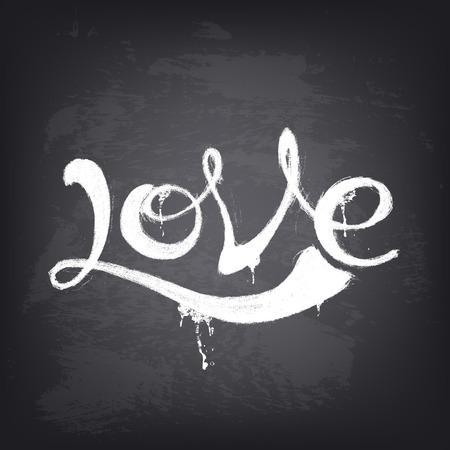 carta de amor: Ilustraci�n de vectores de fondo. Dibujado a mano palabra amor en la pizarra. Antecedentes de dise�o para la bandera, cartel, folleto, cubierta, folleto. Elemento de dise�o estilizado. Textura de la pizarra.