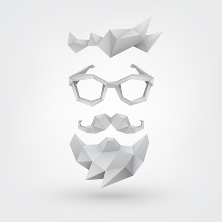 3D glasses: Abstract vector Illustration, low poly style. Hipster concept with hair, glasses, mustache and beard. Background for banner, poster, flyer.