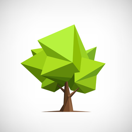 stylized: Conceptual polygonal tree. Abstract vector Illustration, low poly style. Stylized design element. Background design for banner, poster, flyer.