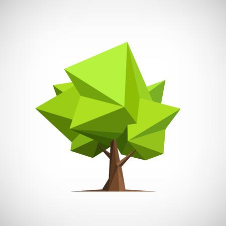 Conceptuele veelhoekige boom. Abstracte vector illustratie, laag poly stijl. Gestileerd design element. Achtergrond ontwerp voor de banner, poster, flyer. Stock Illustratie