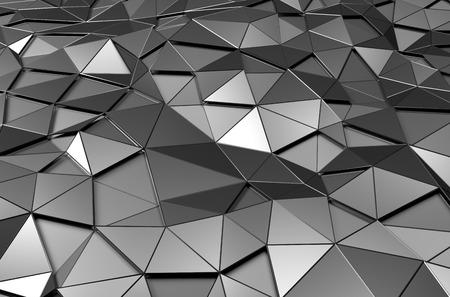 낮은 폴리 금속 표면의 추상 3d 렌더링합니다. 미래의 배경. 스톡 콘텐츠