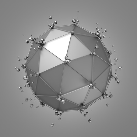 Abstract 3d rendering of metal sphere with chaotic structure. Sci-fi background with wireframe and globe in empty space. Futuristic shape.