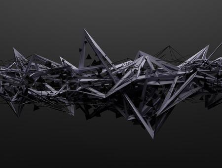 カオス構造の 3 d レンダリングを抽象化します。空の領域に未来的な形状と暗い背景。