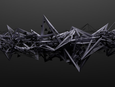 metales: Resumen representaci�n 3D de estructura ca�tica. Fondo oscuro con forma futurista en el espacio vac�o.