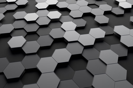 Abstract 3d rendering of futuristic surface with hexagons. Sci-fi background.