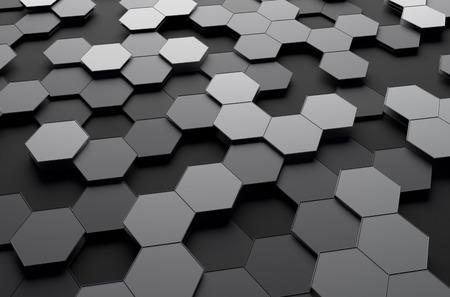 perspectiva lineal: Resumen representaci�n 3D de superficie futurista con hex�gonos. Fondo de ciencia-ficci�n. Foto de archivo