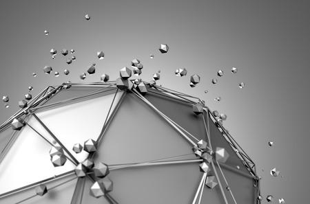 Abstrakt 3D-Rendering von Low-Poly Metallkugel mit chaotischen Struktur. Science-Fiction-Hintergrund mit Drahtmodell und Kugel im leeren Raum. Futuristische Form.
