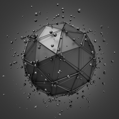 metal sphere: Abstract 3d rendering of low poly metal sphere with chaotic structure. Sci-fi background with wireframe and globe in empty space. Futuristic shape.