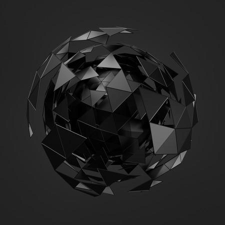 추상: 혼돈의 구조와 낮은 폴리 검은 구체의 추상 3d 렌더링. 빈 공간에 와이어 프레임과 세계와 공상 과학 배경. 미래의 모양.