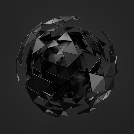 Abstract 3d rendering of low poly black sphere with chaotic structure. Sci-fi background with wireframe and globe in empty space. Futuristic shape. Stock Photo