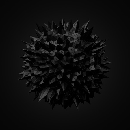 Abstract 3d rendering of black sphere with chaotic structure. Dark background with wireframe and globe in empty space. Futuristic shape. Reklamní fotografie