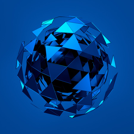 chrome ball: Abstract 3d rendering of low poly blue sphere with chaotic structure. Sci-fi background with wireframe and globe in empty space. Futuristic shape.
