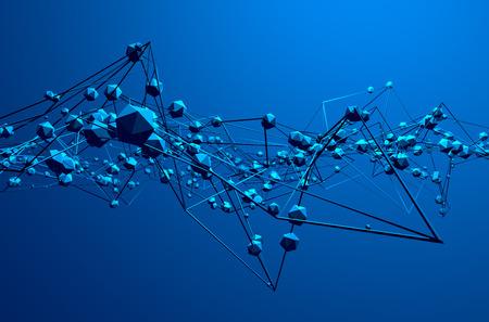 Résumé de rendu 3D de la structure chaotique. Fond bleu avec des lignes et des sphères bas de poly dans l'espace vide. Forme futuriste. Banque d'images - 40297109