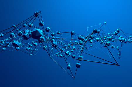 fondos azules: Resumen representaci�n 3D de estructura ca�tica. Fondo azul con l�neas y esferas de baja poli en el espacio vac�o. Forma futurista. Foto de archivo