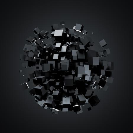 검은 큐브의 3D 렌더링. 공상 과학 배경. 빈 공간에서 추상 구입니다. 미래의 모양.